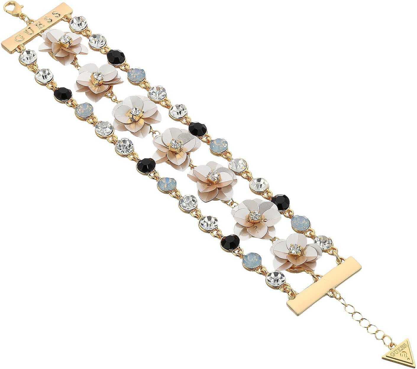 GUESS Floral Motif Line Bracelet Gold/Crystal/Jet/Ivory