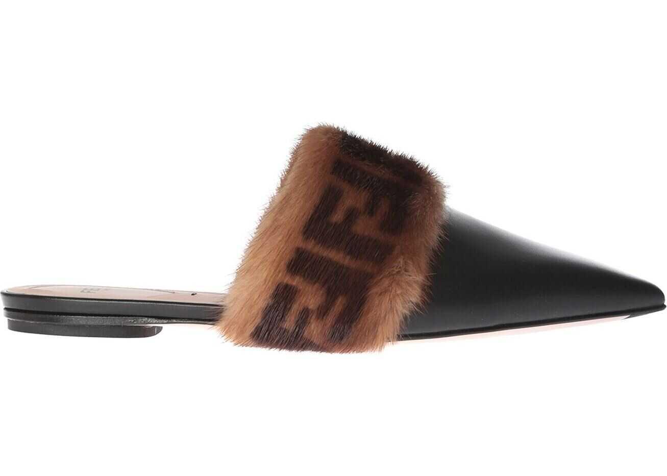 Fendi Black Flat Sabot With Branded Mink Fur Black