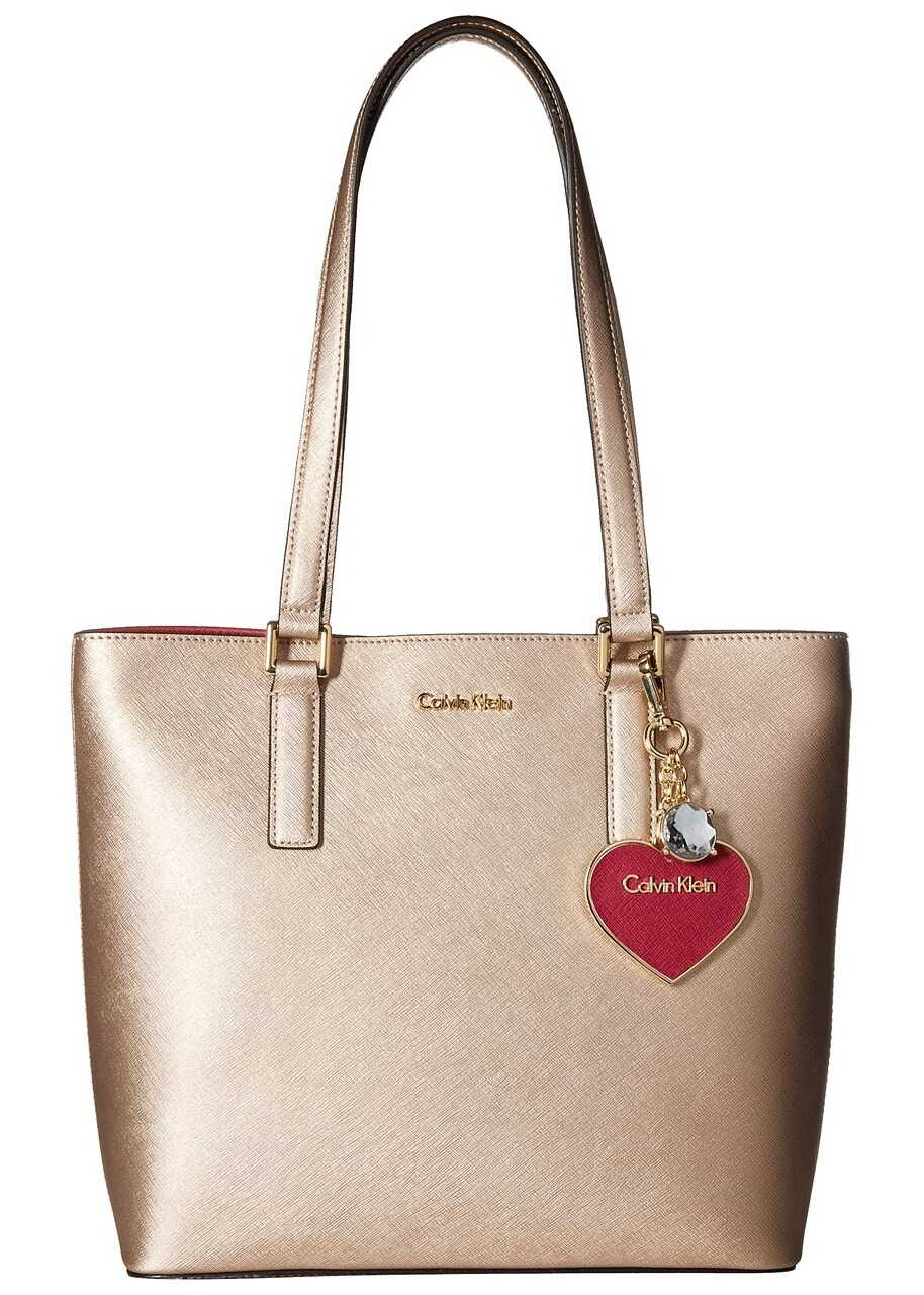 Calvin Klein Saffiano Leather Tote Champagne