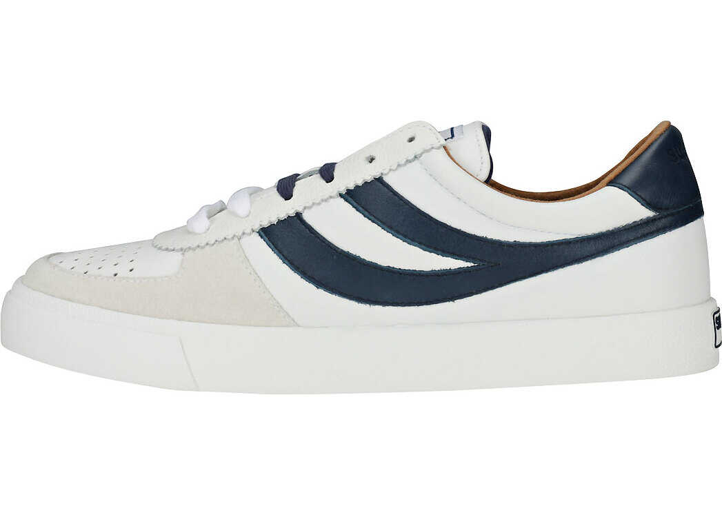 Superga 2846 Leau Trainers In White Navy White