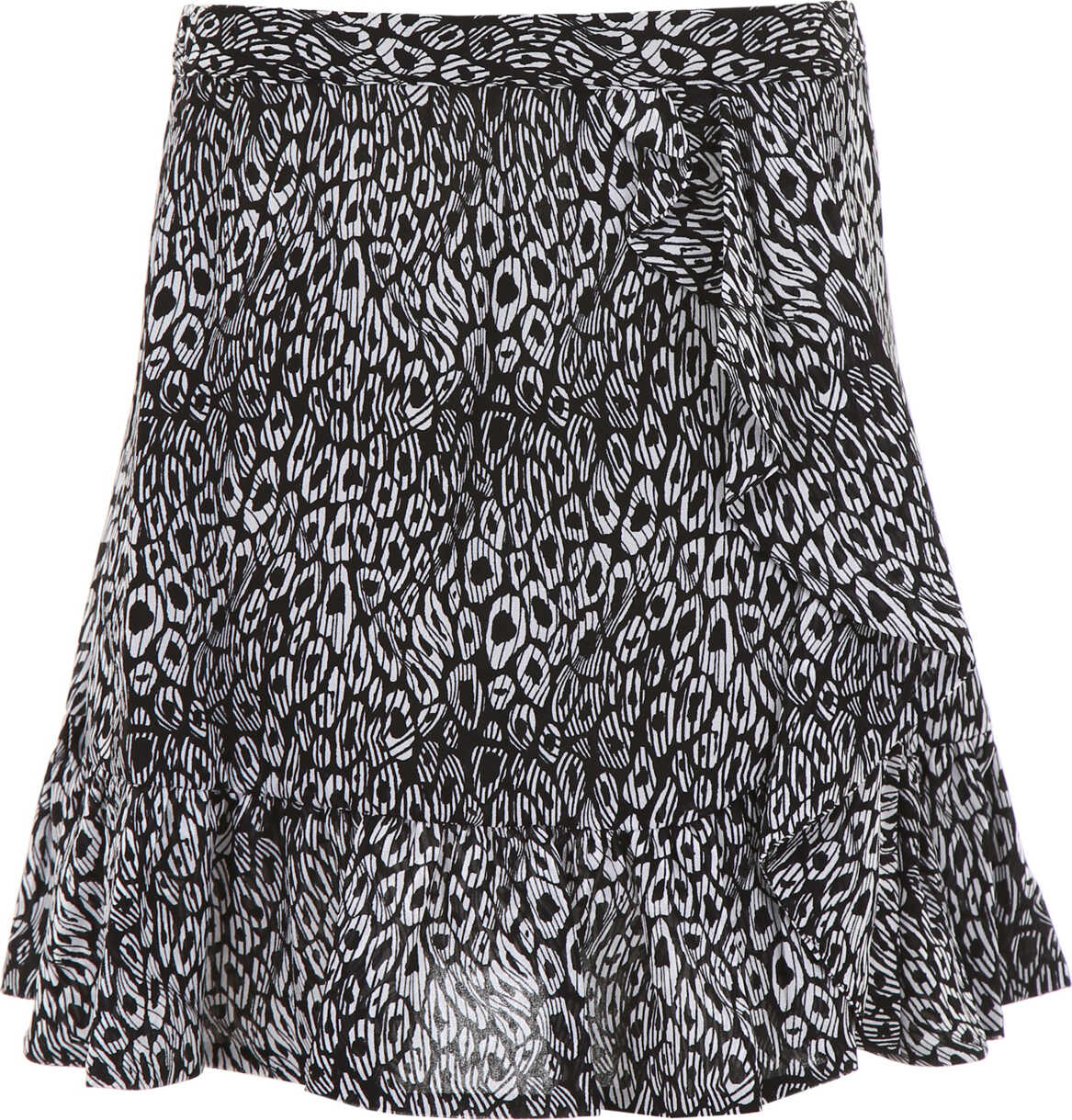 Michael Kors Ruffled Mini Skirt BLACK WHITE