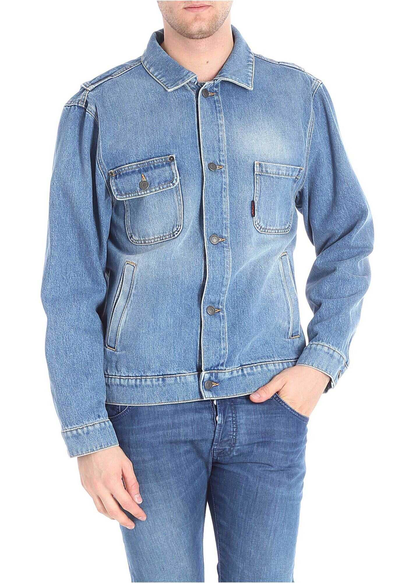 Moschino Denim Jacket With Logo Embroidery Light Blue