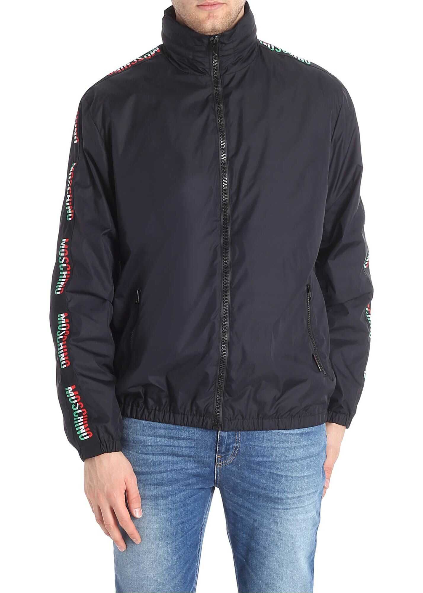 Moschino Black Padded Jacket With Branded Sleeves Black