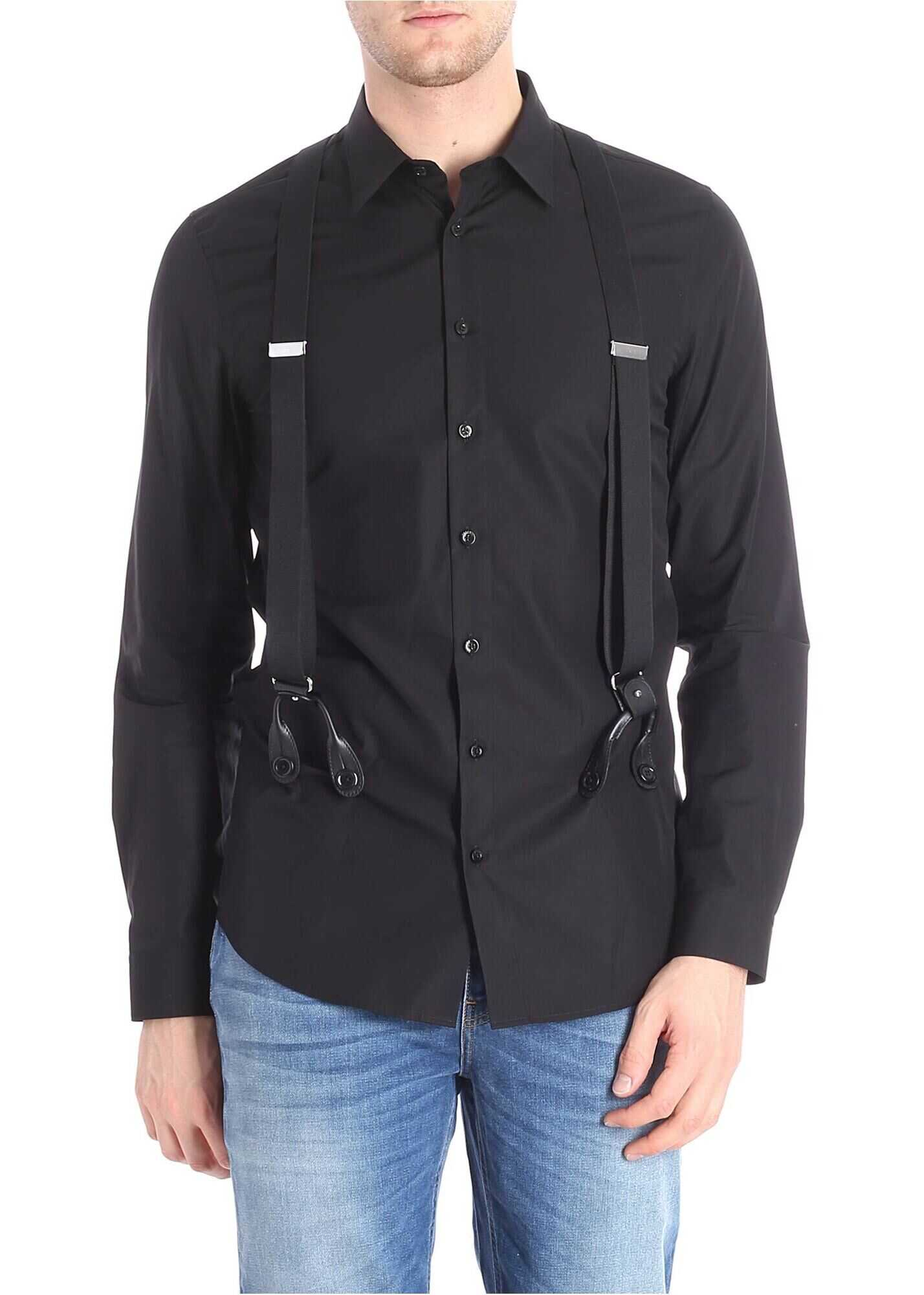 Moschino Black Shirt With Braces Black imagine