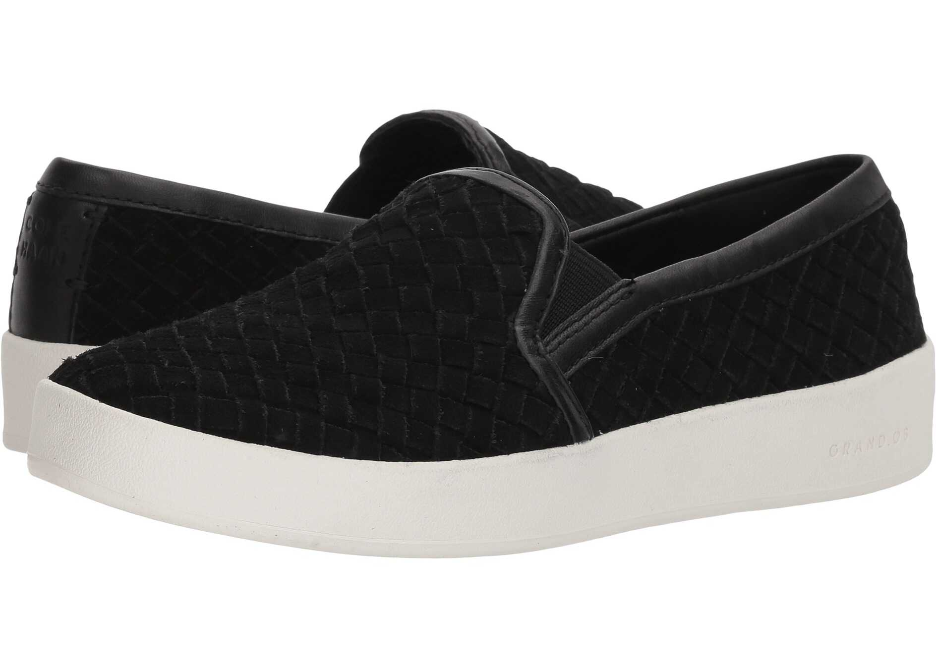 Cole Haan Grandpro Spectator Slip-On Black Woven Suede/Black Leather/Optic White