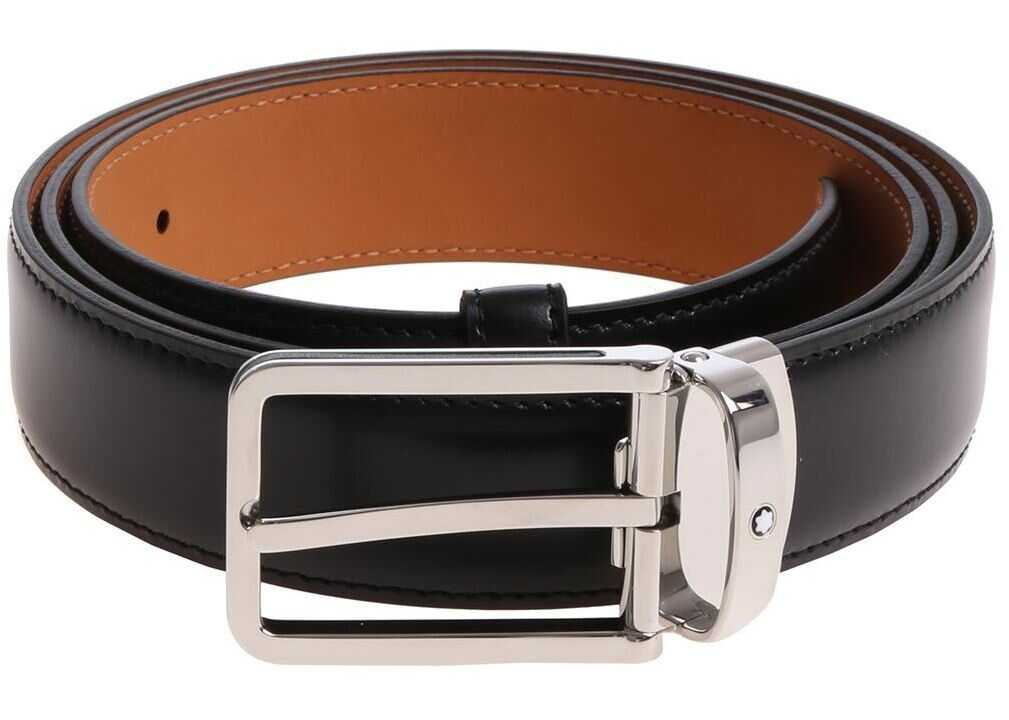 Montblanc Black Belt With Silver Buckle Black