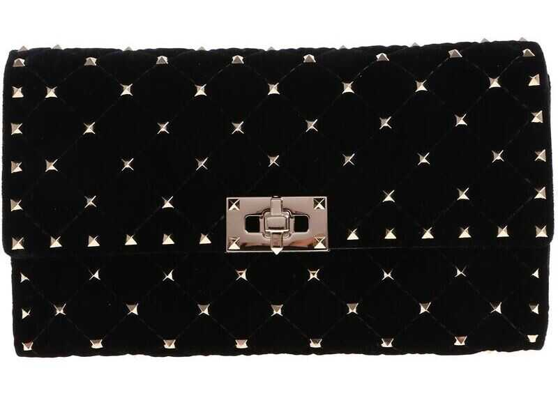 Valentino Garavani Black Velvet Bag With Studs QW2B0137VLL 0NO Black imagine b-mall.ro