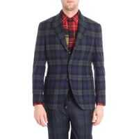 Sacouri office Blue And Green Checked Three-Button Jacket Barbati