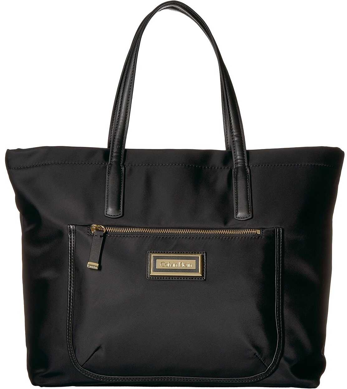 Calvin Klein Key Item Nylon Top Zip East/West Front Pocket Tote Black/Gold