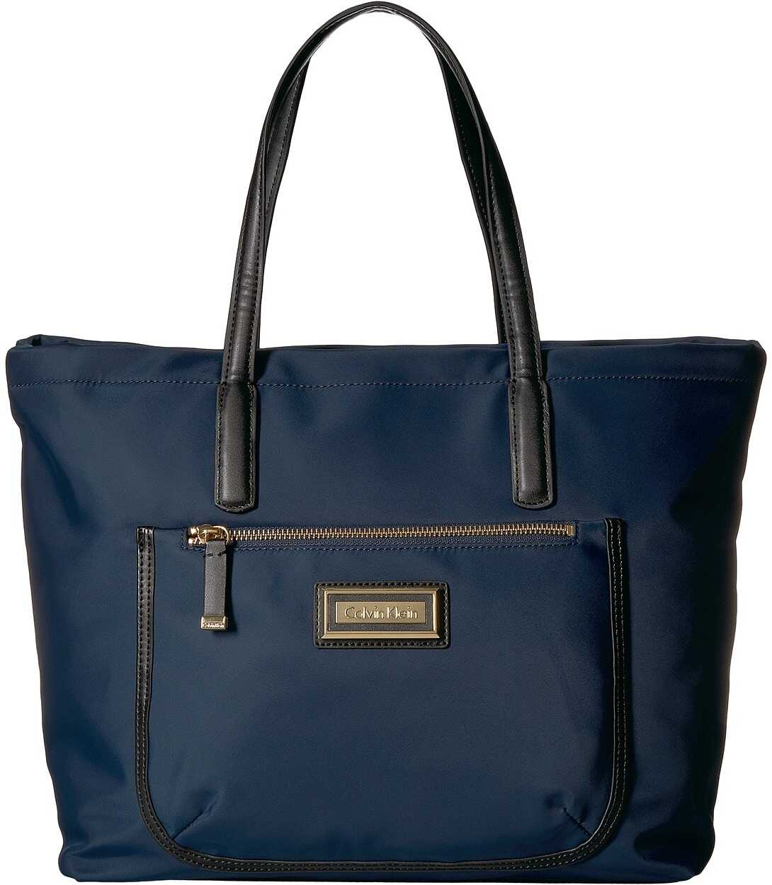 Calvin Klein Key Item Nylon Top Zip East/West Front Pocket Tote Navy