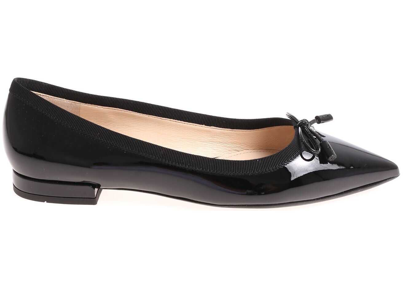 Prada Black Pointy Leather Flats Black