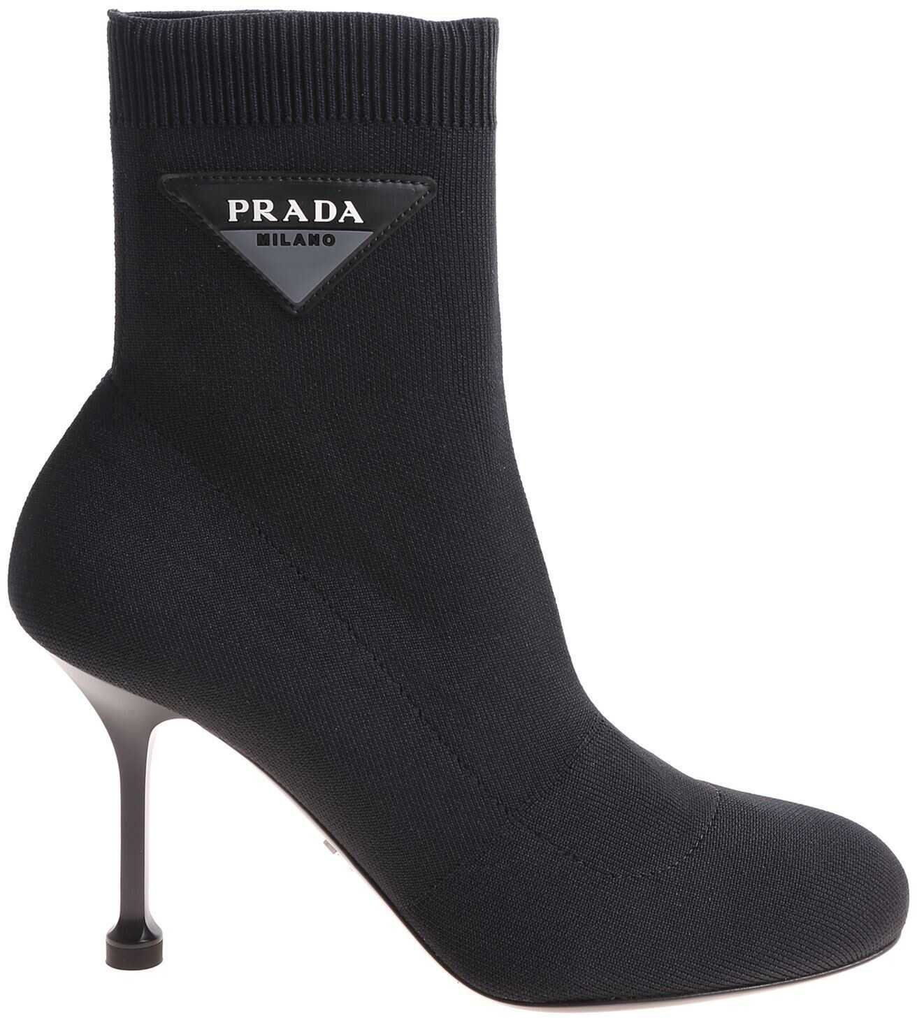Prada Black Stretch Knitted Ankle Boots Black