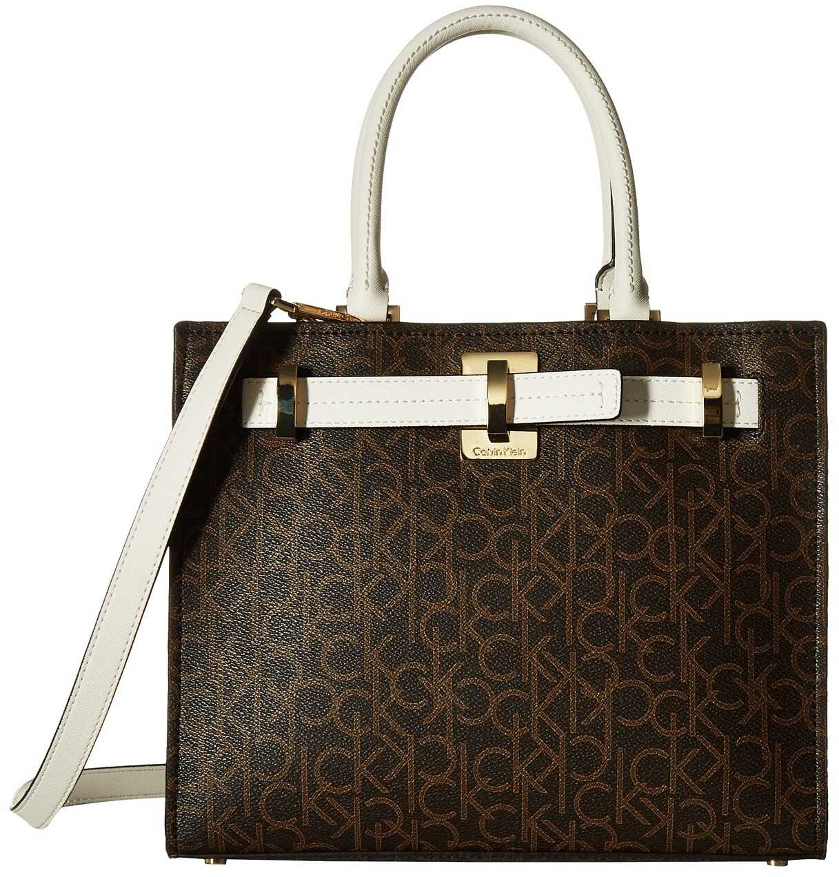 Calvin Klein Faye Monogram Satchel Brown/Khaki/White