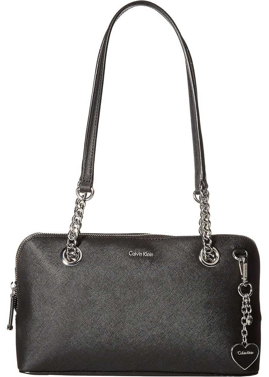Calvin Klein Saffiano Leather Satchel Black/Black