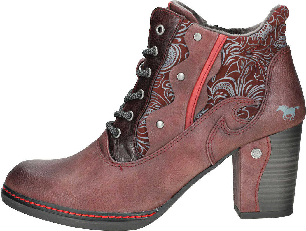 Mustang Side Zip Heel Shoe Ankle Boots In Burgundy Red