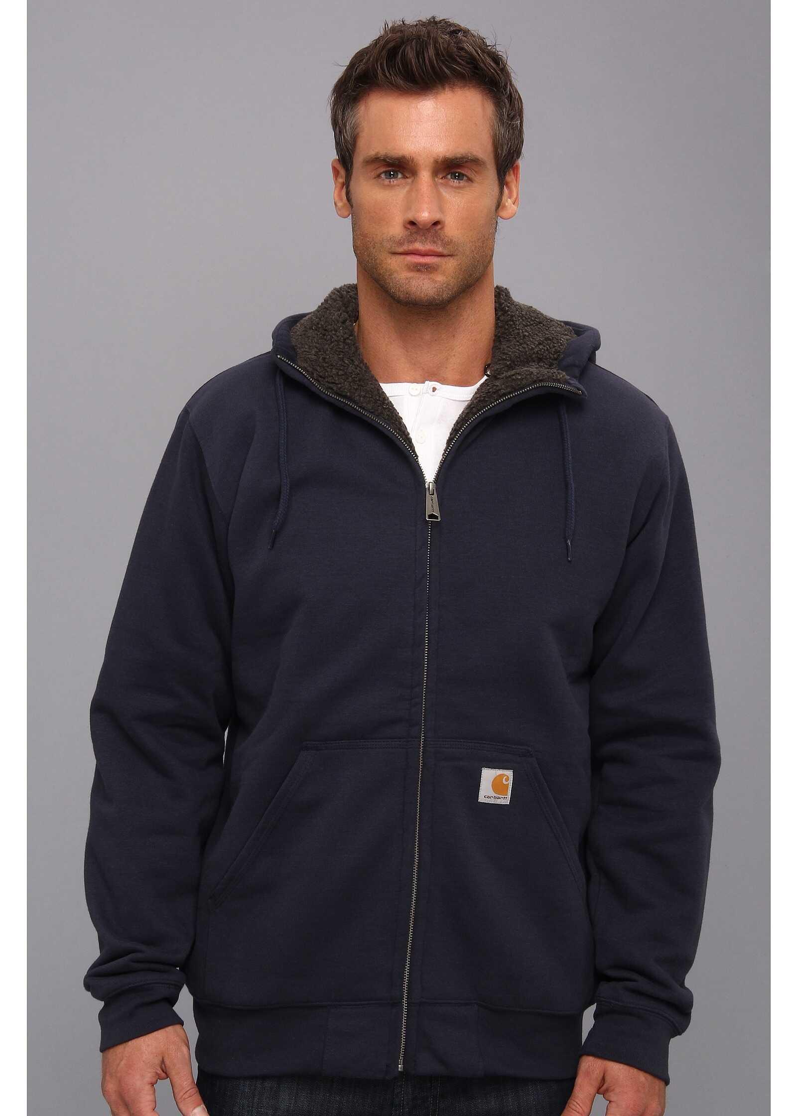 Carhartt Brushed Fleece Sweatshirt Sherpa Lined New Navy