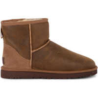 Ghete & Cizme Classic Mini Bomber Brown Sheepskin And Suede Ankle Boots Barbati
