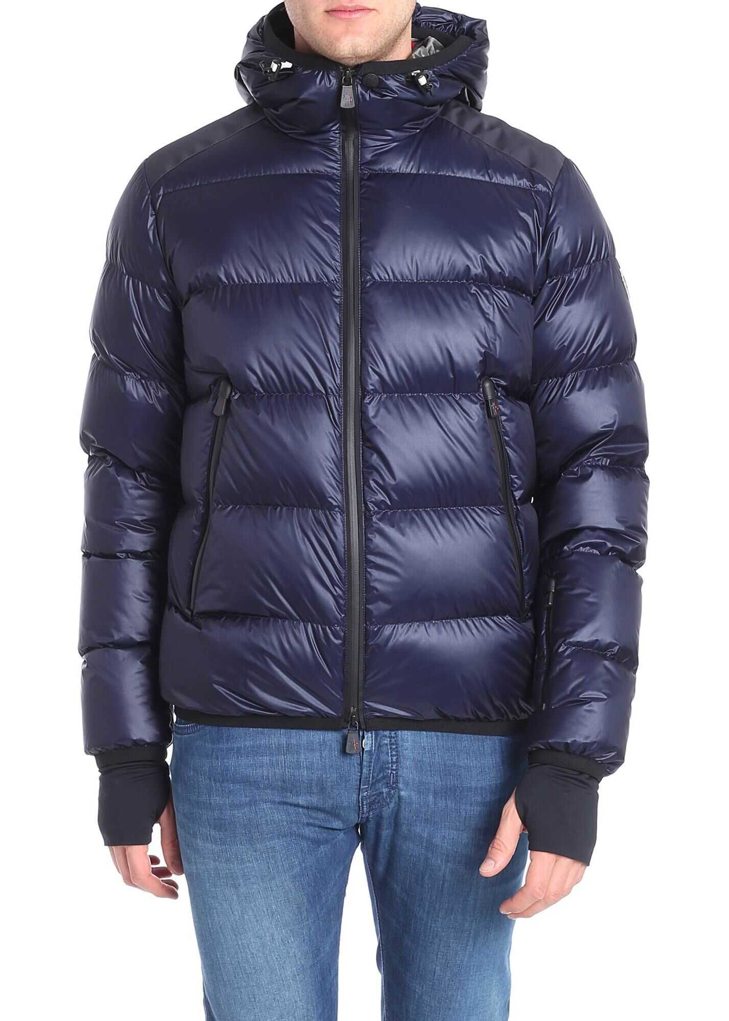Moncler Grenoble Blue Down Jacket With Logo On The Sleeve Blue