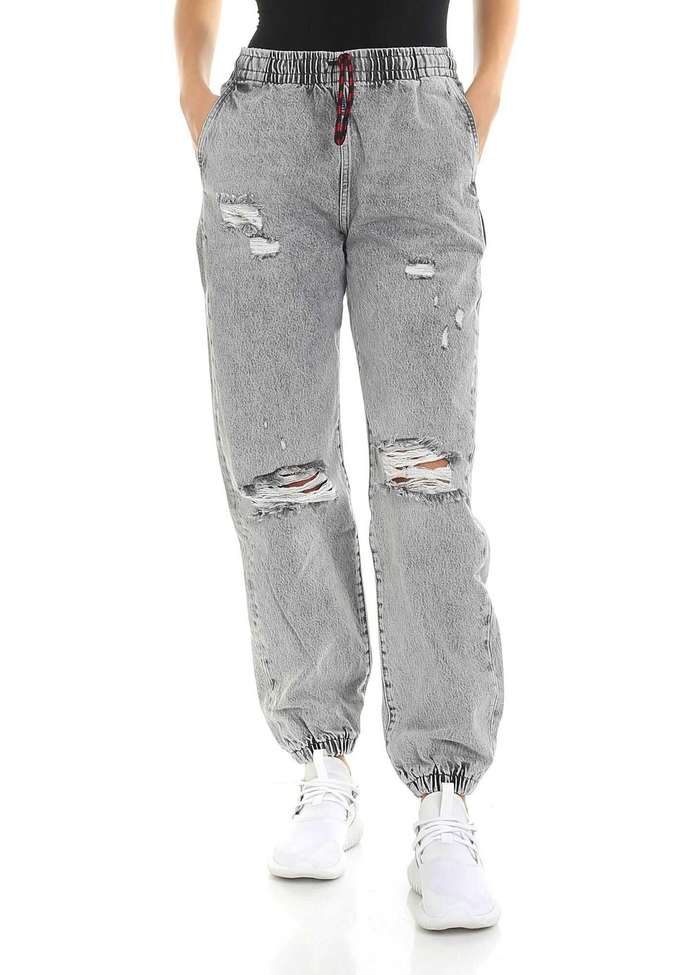 Alexander Wang Grey Jeans With Elastic Edges Gray