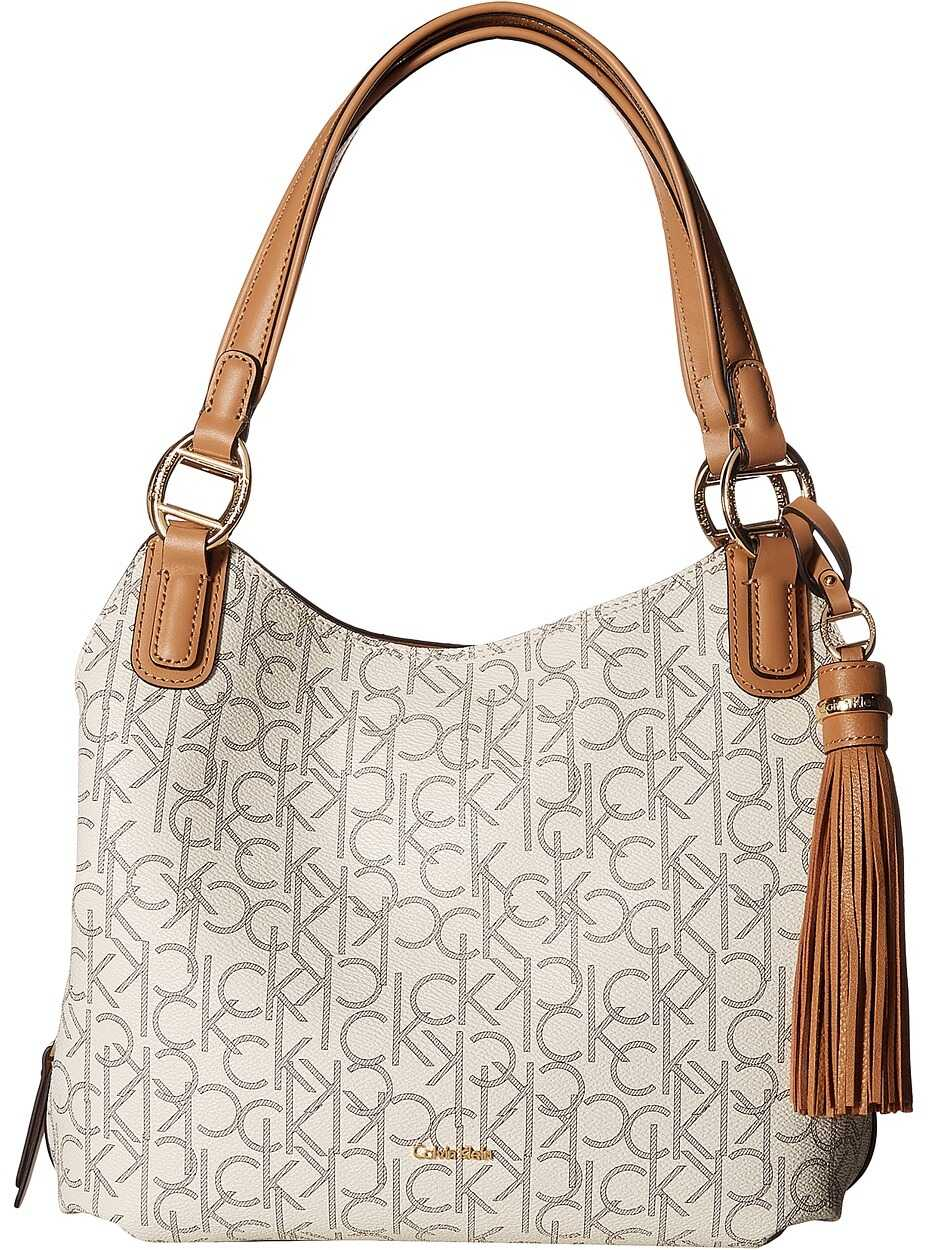 Calvin Klein Holly Monogram Hobo Almond/Khaki