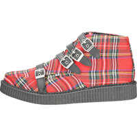 Ghete & Cizme T.u.k Pointed Creeper 4 Straps Unisex Boots In Red Tartan Barbati
