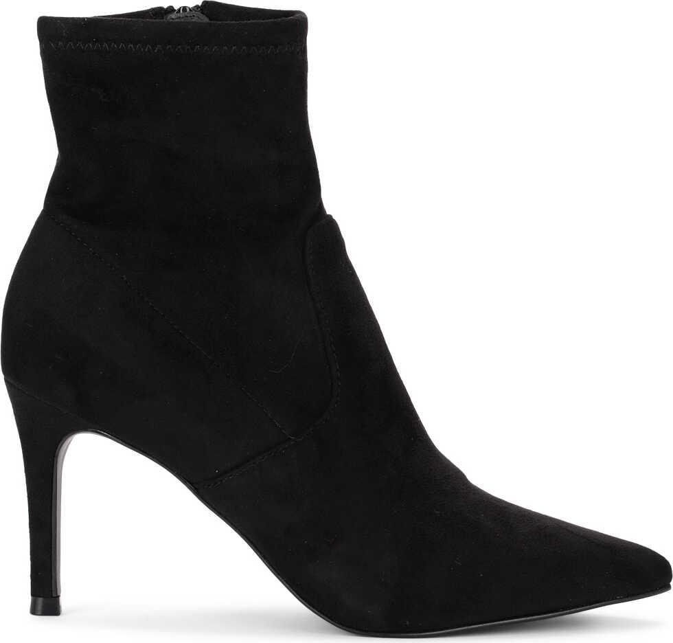 Steve Madden Lava Black Elastic Suede Ankle Boots Black