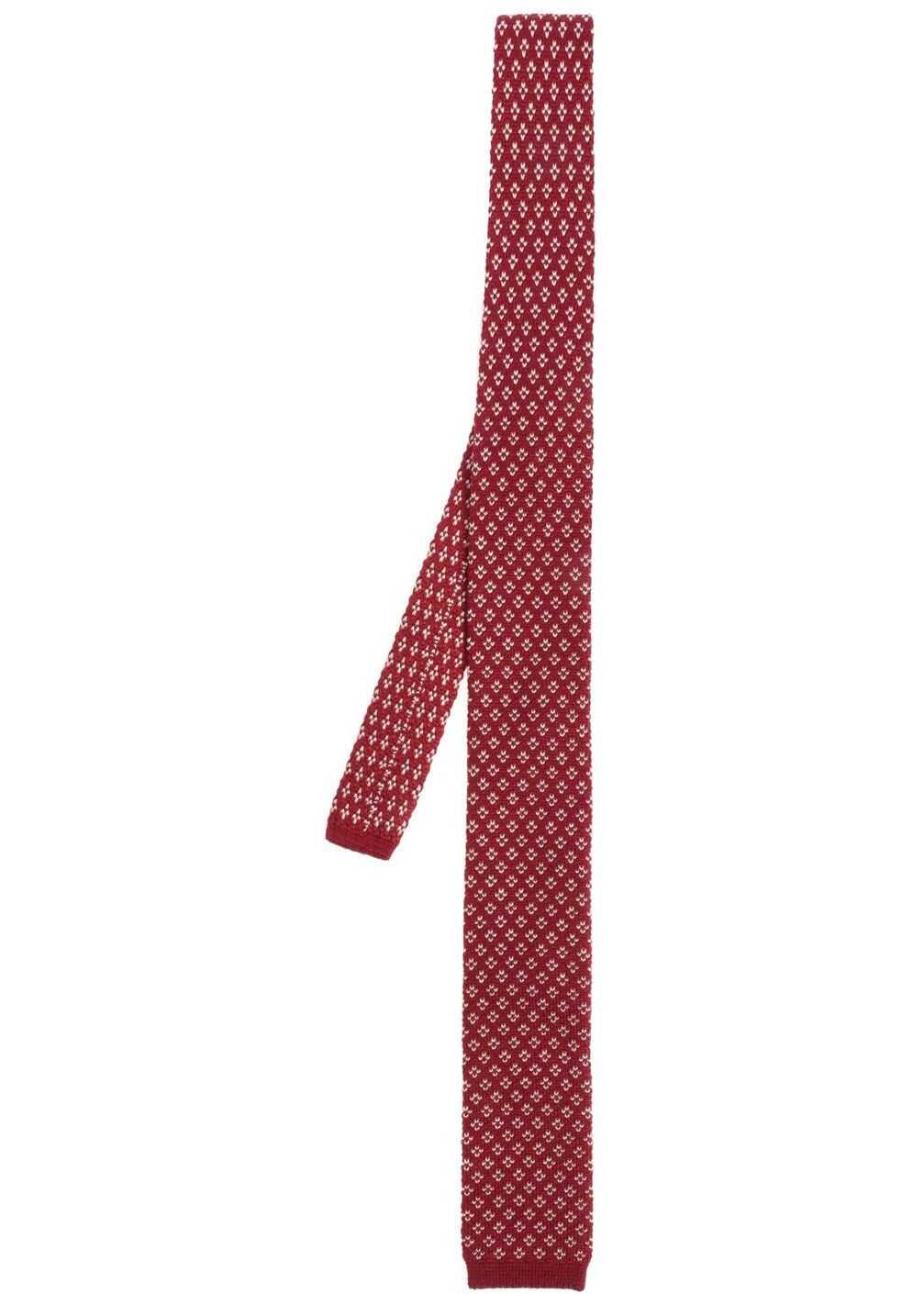 Missoni Burgundy And White Knit Tie Red