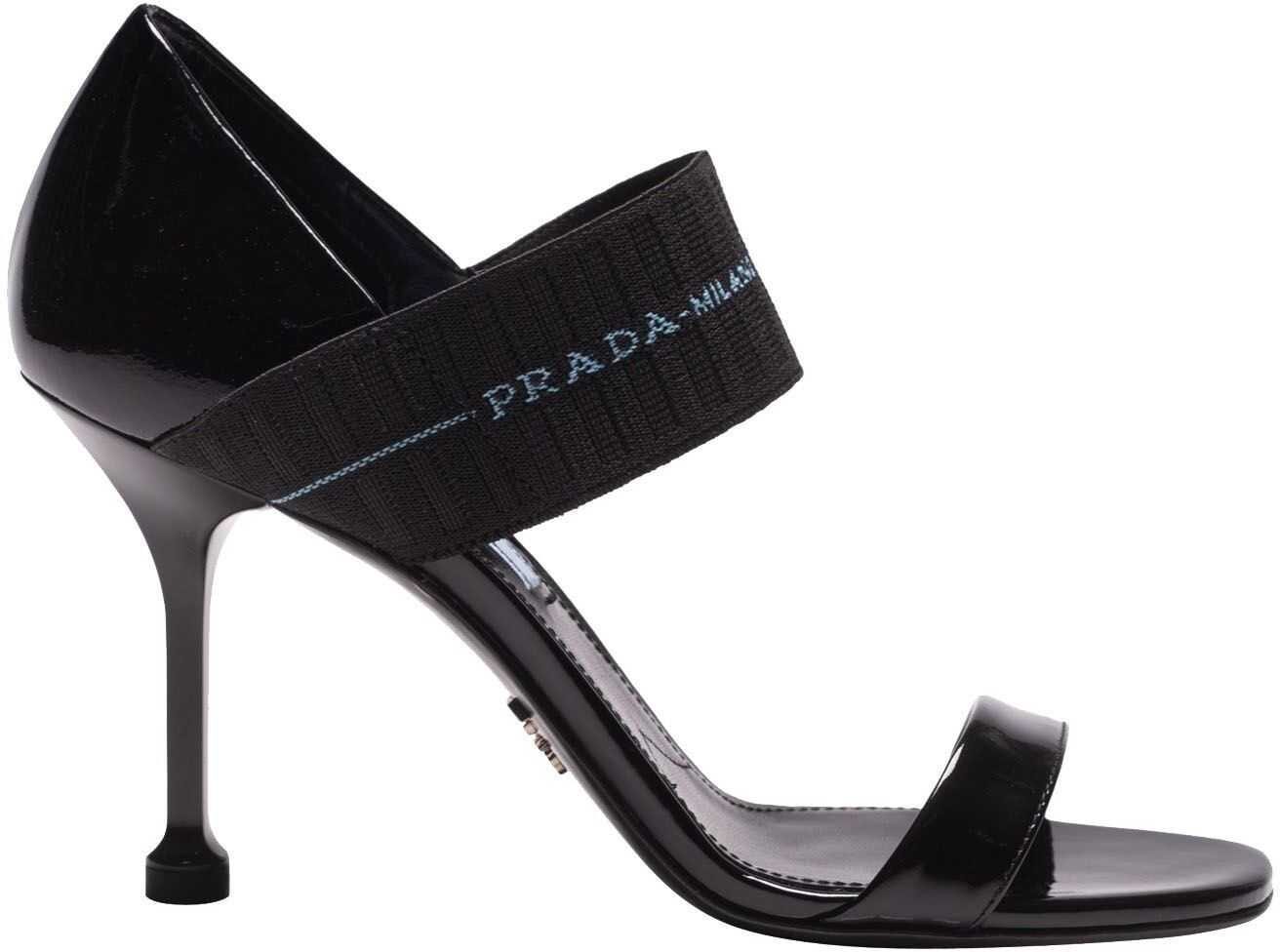 Prada Black Patent Leather Sandals With Elastic Black