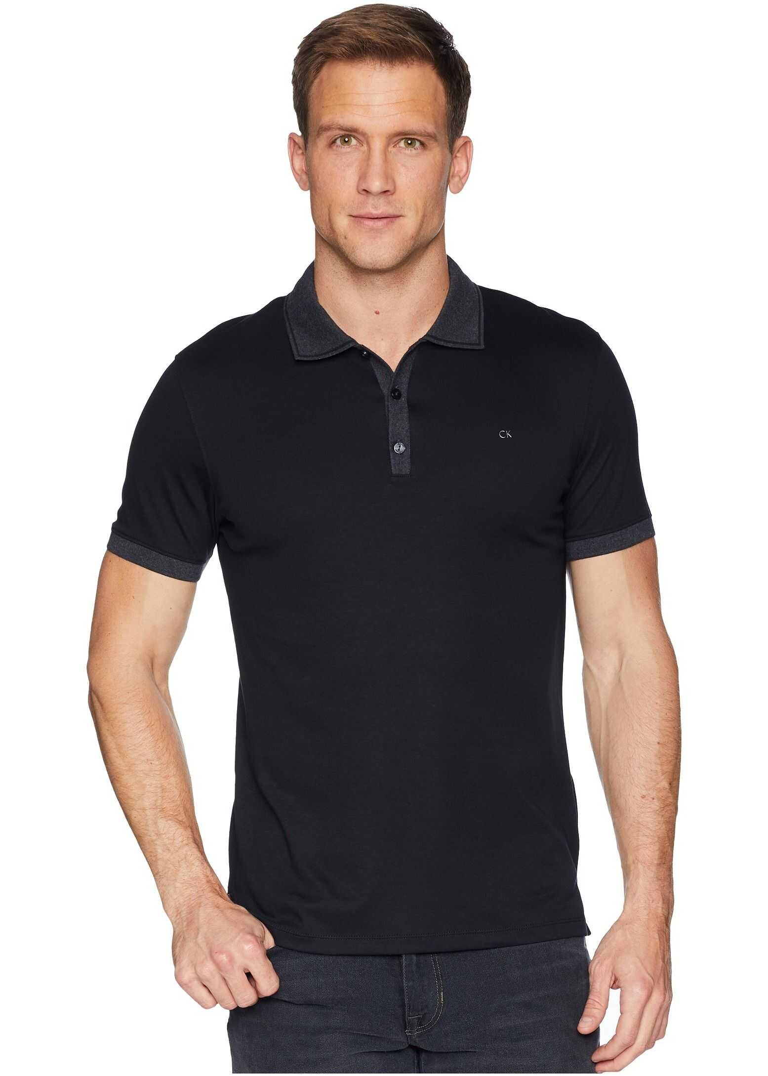 Calvin Klein Short Sleeve Front Panel Jacquard Solid Tipped Polo Black Rock