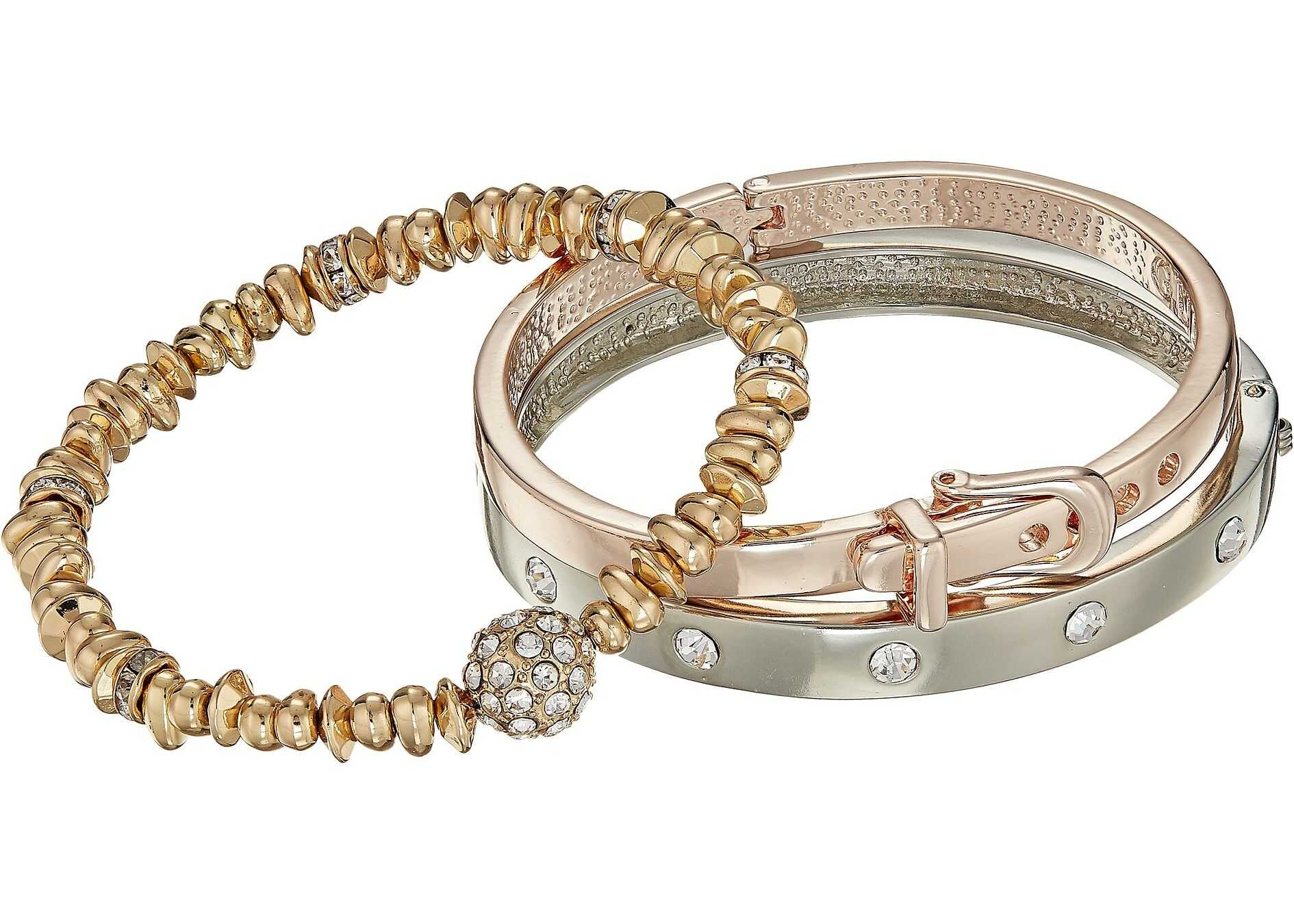GUESS Three-Piece Bracelet Set - Two Hinge Bangles and One Stretch Silver/Rose Gold/Gold/Crystal