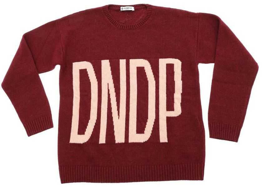 Pulovere Fete Dondup Burgundy Pullover With Pink Logo