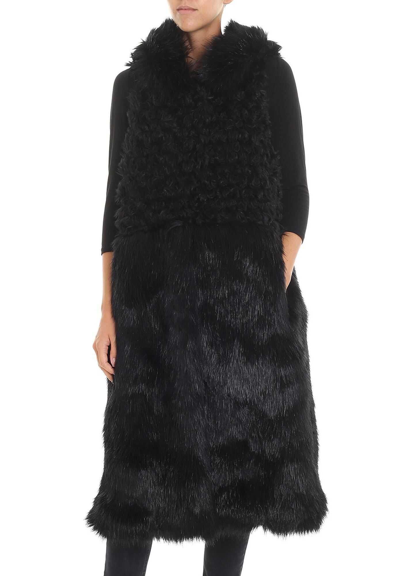 L'Autre Chose Long Black Eco-Fur Waistcoat Black