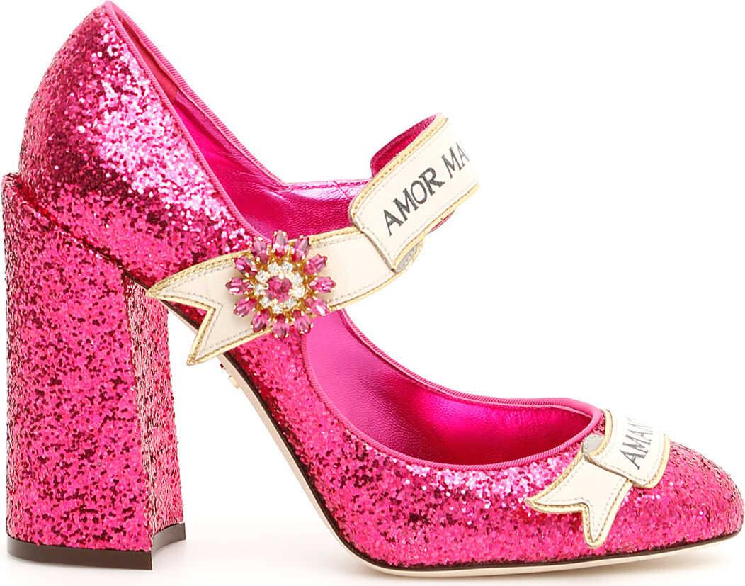 Dolce & Gabbana Glitter Mary Jane Pumps FUXIA FUXIA