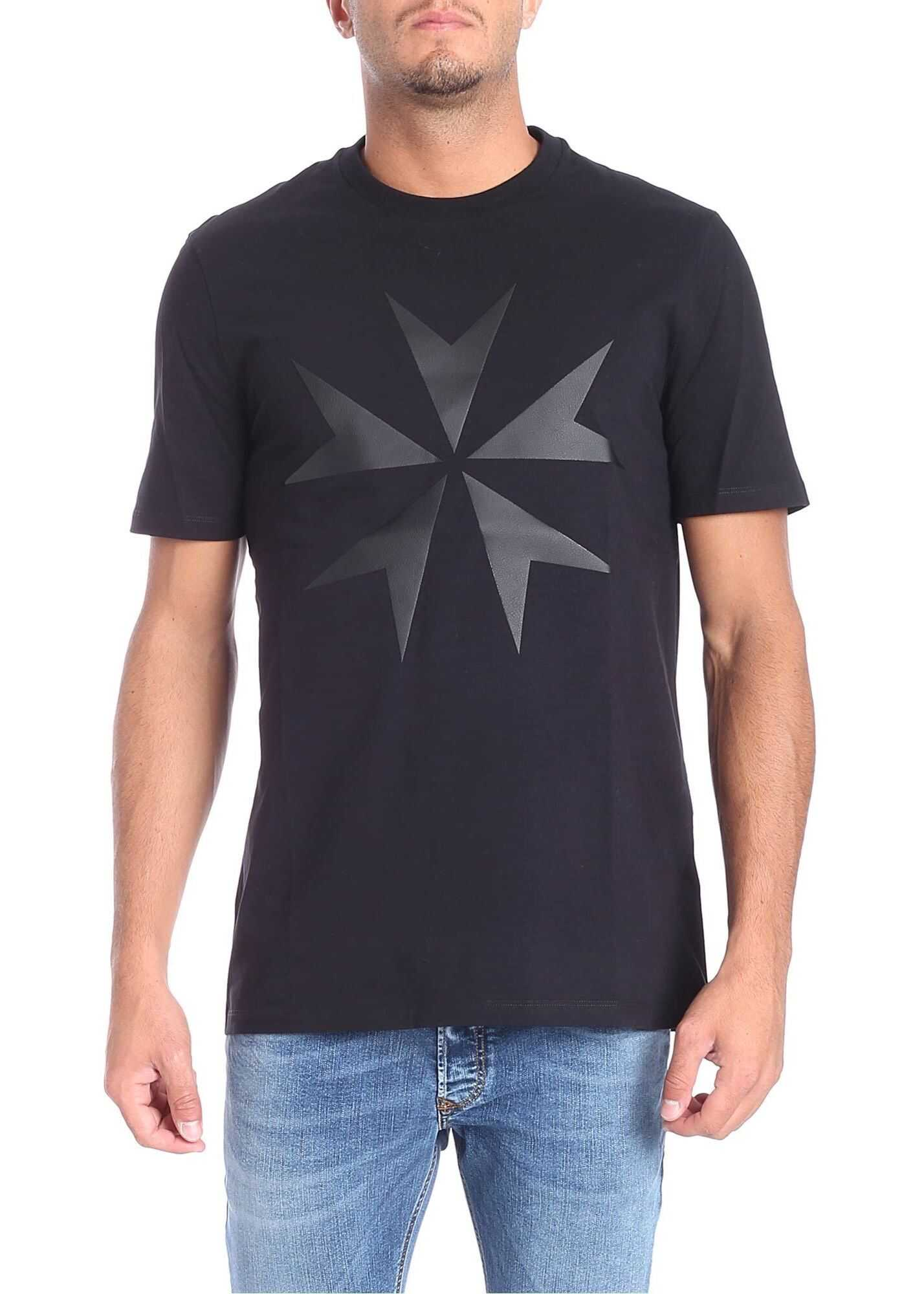 Black T-Shirt With Eco-Leather Insert