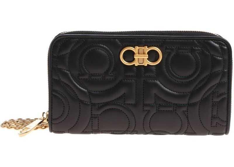 Salvatore Ferragamo Black Wallet With Golden Shoulder Strap Black