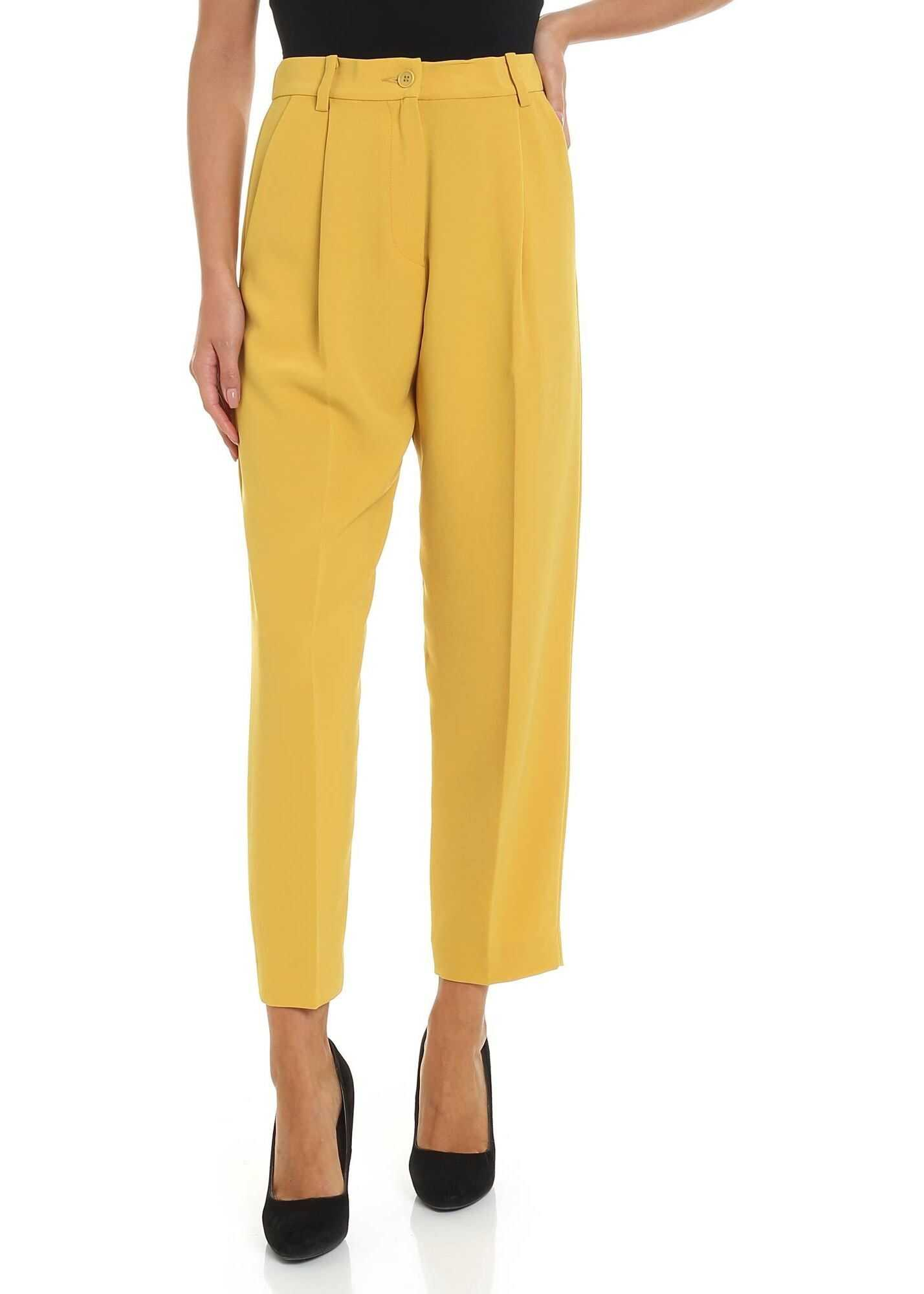 P.A.R.O.S.H. Ocher Color Crop Trousers Yellow
