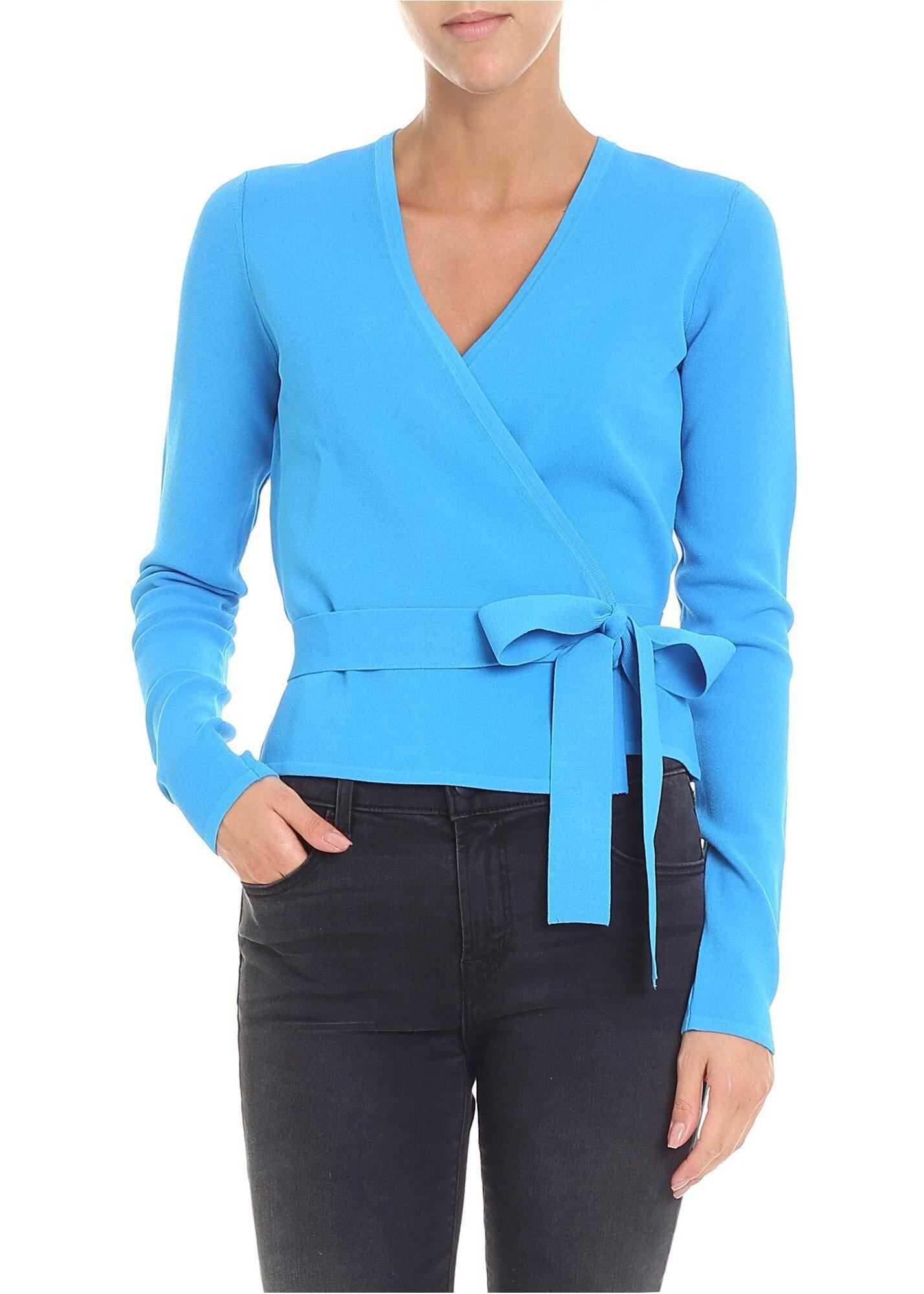 Diane von Furstenberg Light Blue V-Neck Cache-Coeur Light Blue