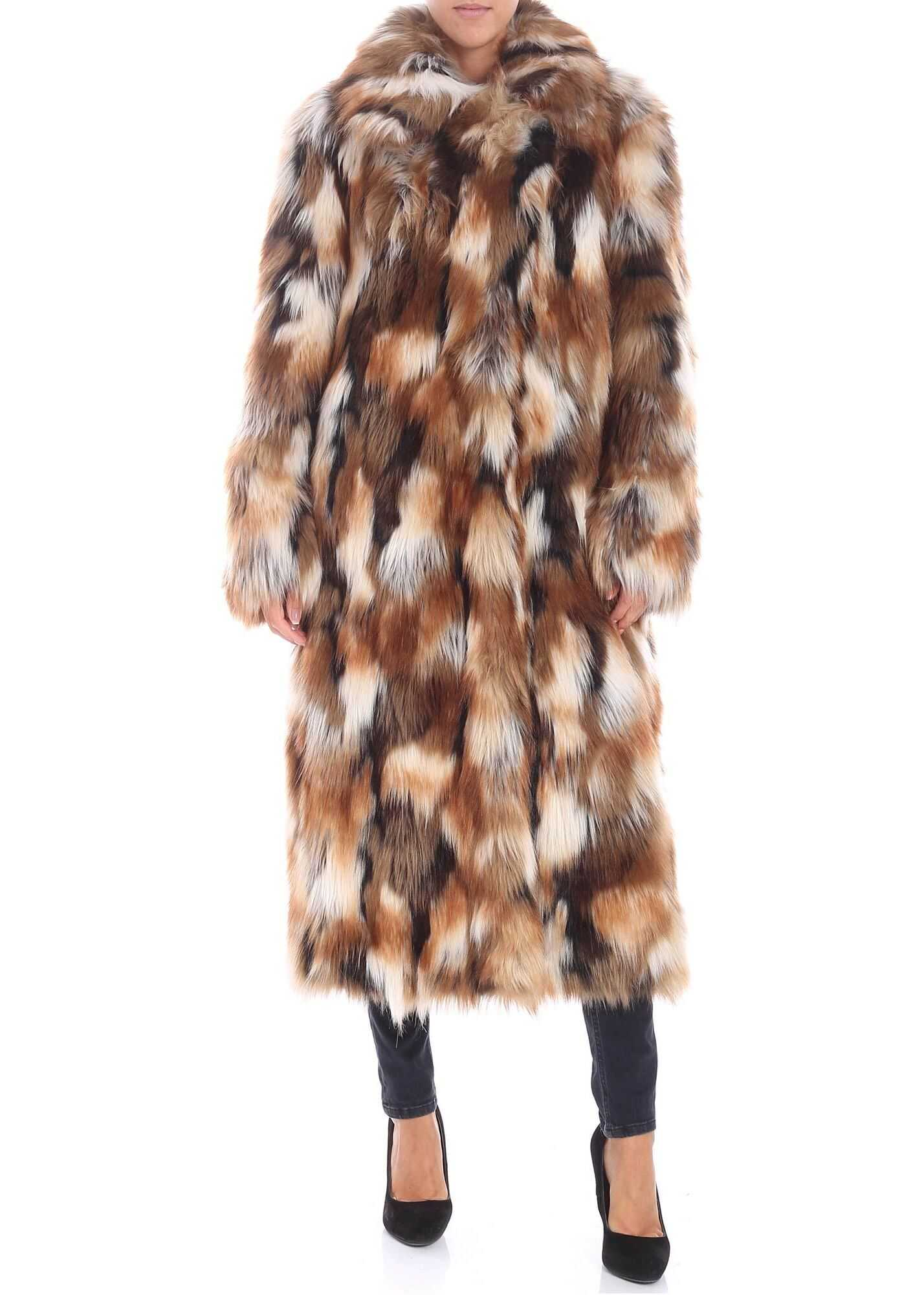Dondup White And Brown Eco-Fur Jacket Brown