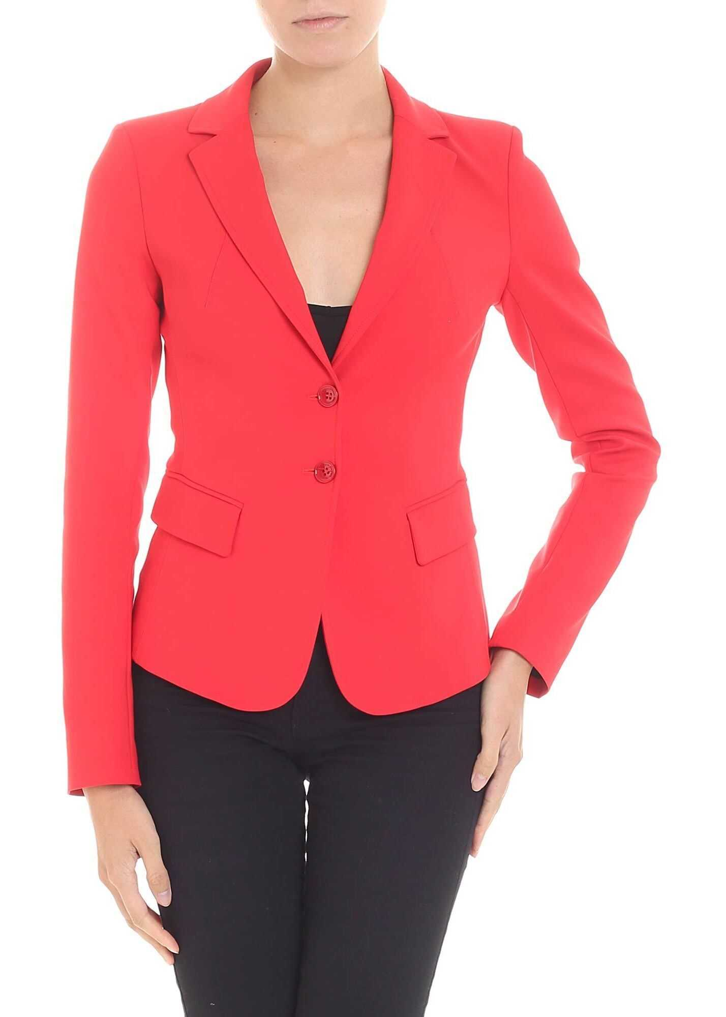 Patrizia Pepe Red Jacket With Notch Lapels Red