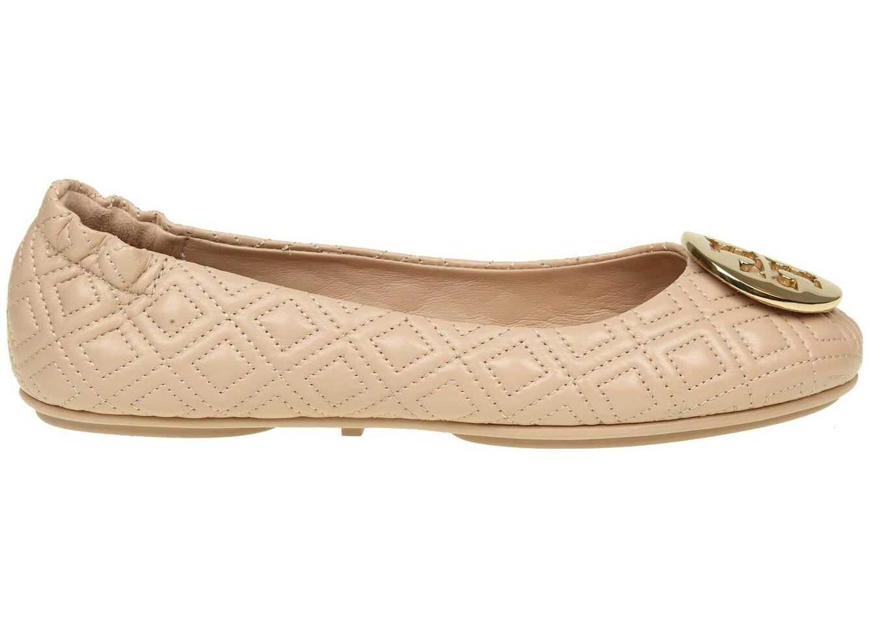 Tory Burch Powder Pink Leather Minnie Ballerinas Gold