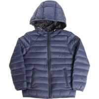 Geci de Puf Reversible Blue Down Jacket With Logo Baieti