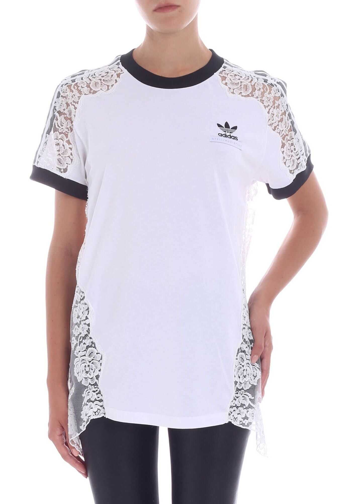adidas by Stella McCartney White T-Shirt With Lace Inserts White