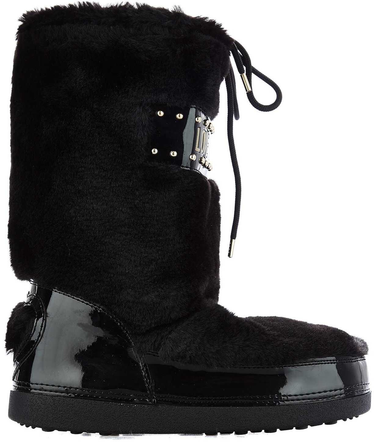 LOVE Moschino Moon boots in faux fur Black