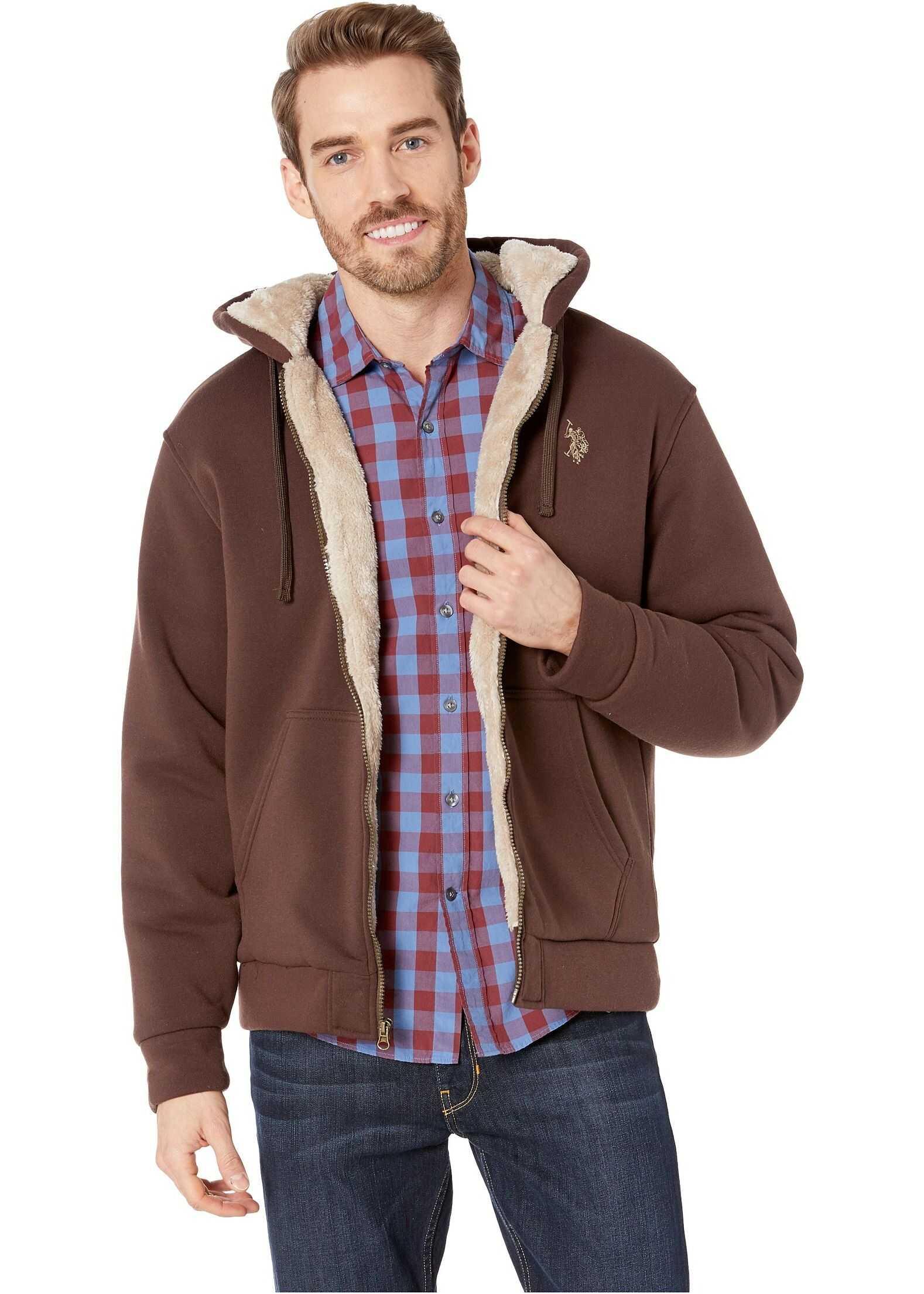 U.S. POLO ASSN. Solid Lined Fleece Dark Brown