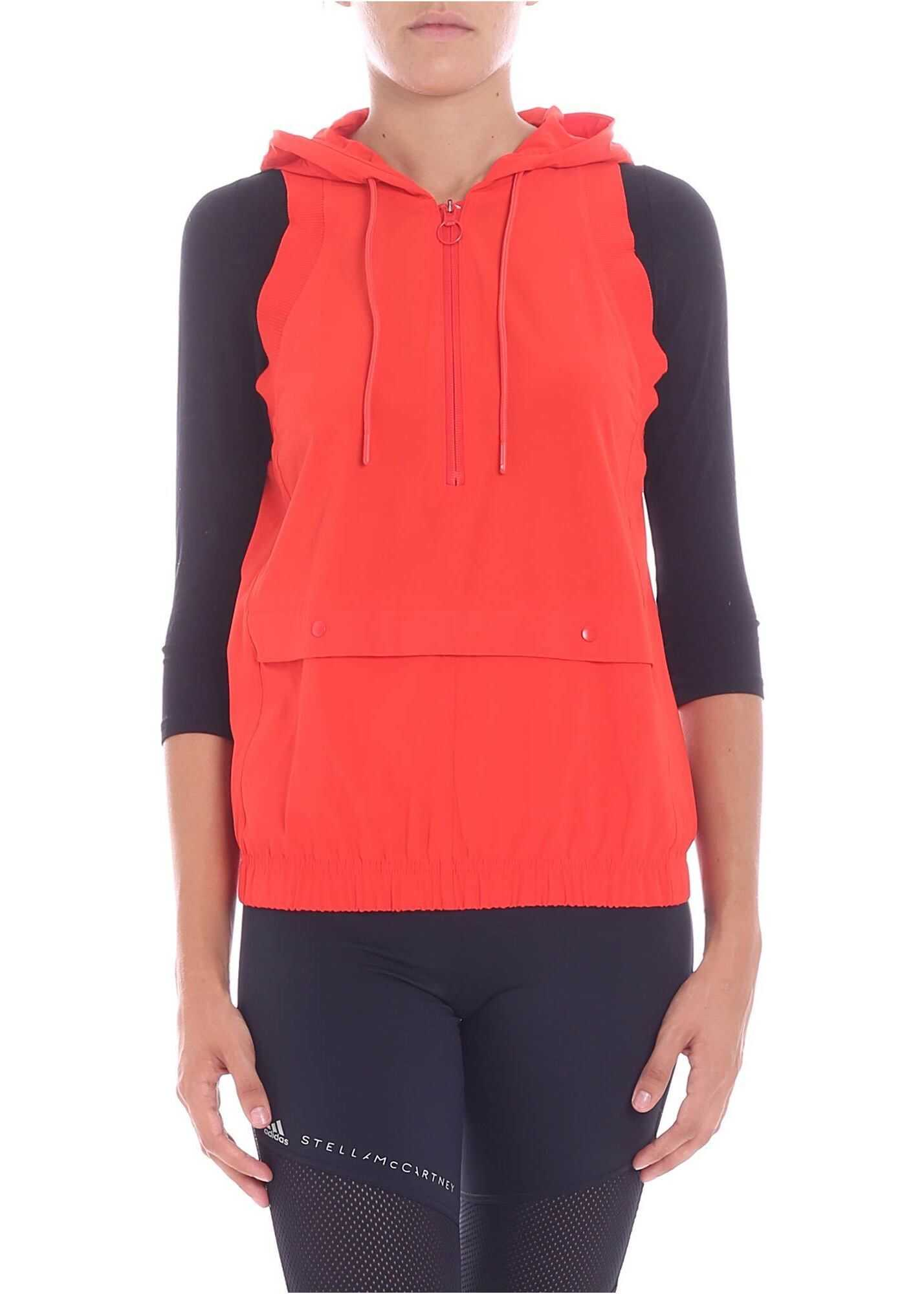 adidas by Stella McCartney Training Red Hooded Waistcoat Red