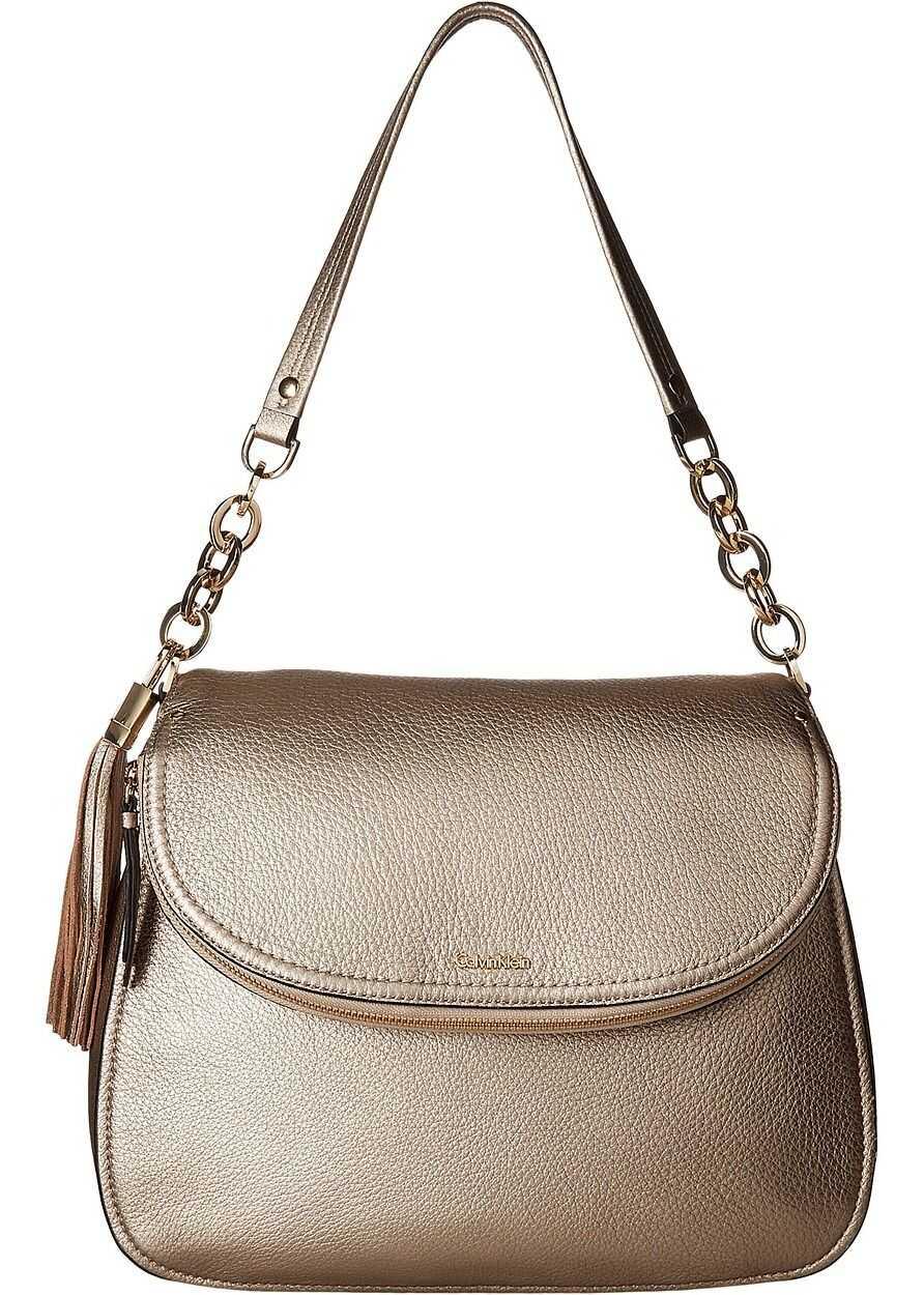 Calvin Klein Lynn Pebble Flap Hobo Shoulder Bag Metallic Taupe