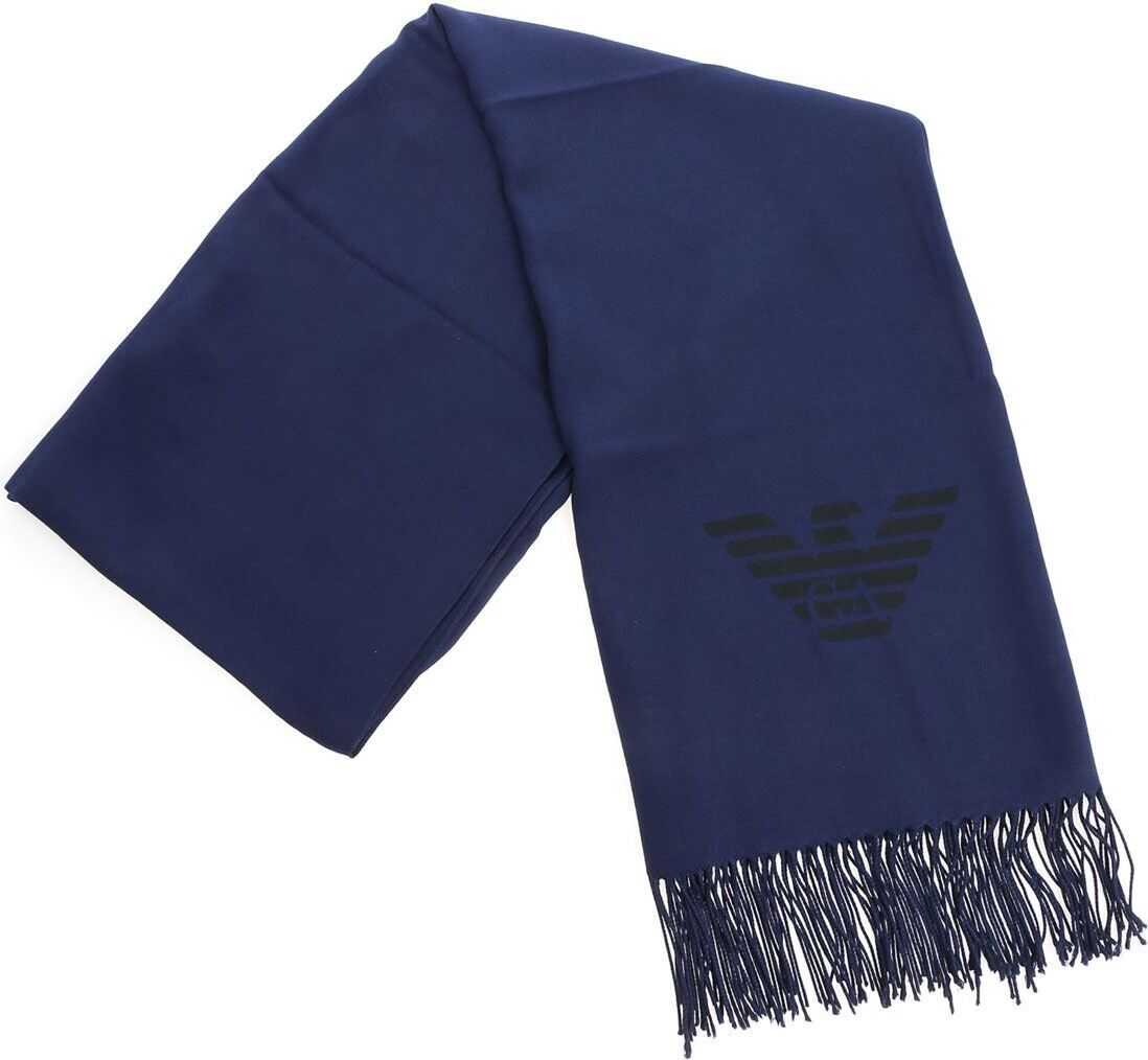 Emporio Armani Blue Pashmina With Fringes Blue
