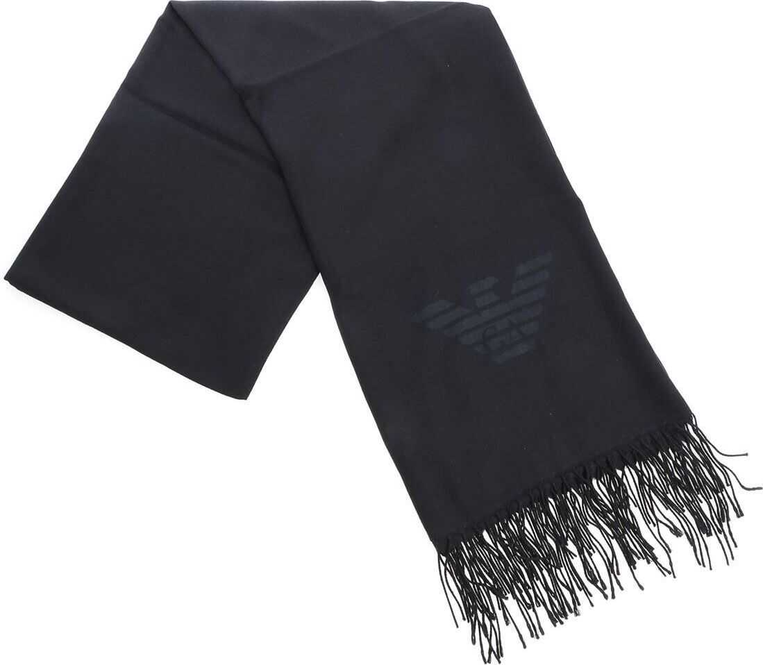 Emporio Armani Black Pashmina With Fringes Black