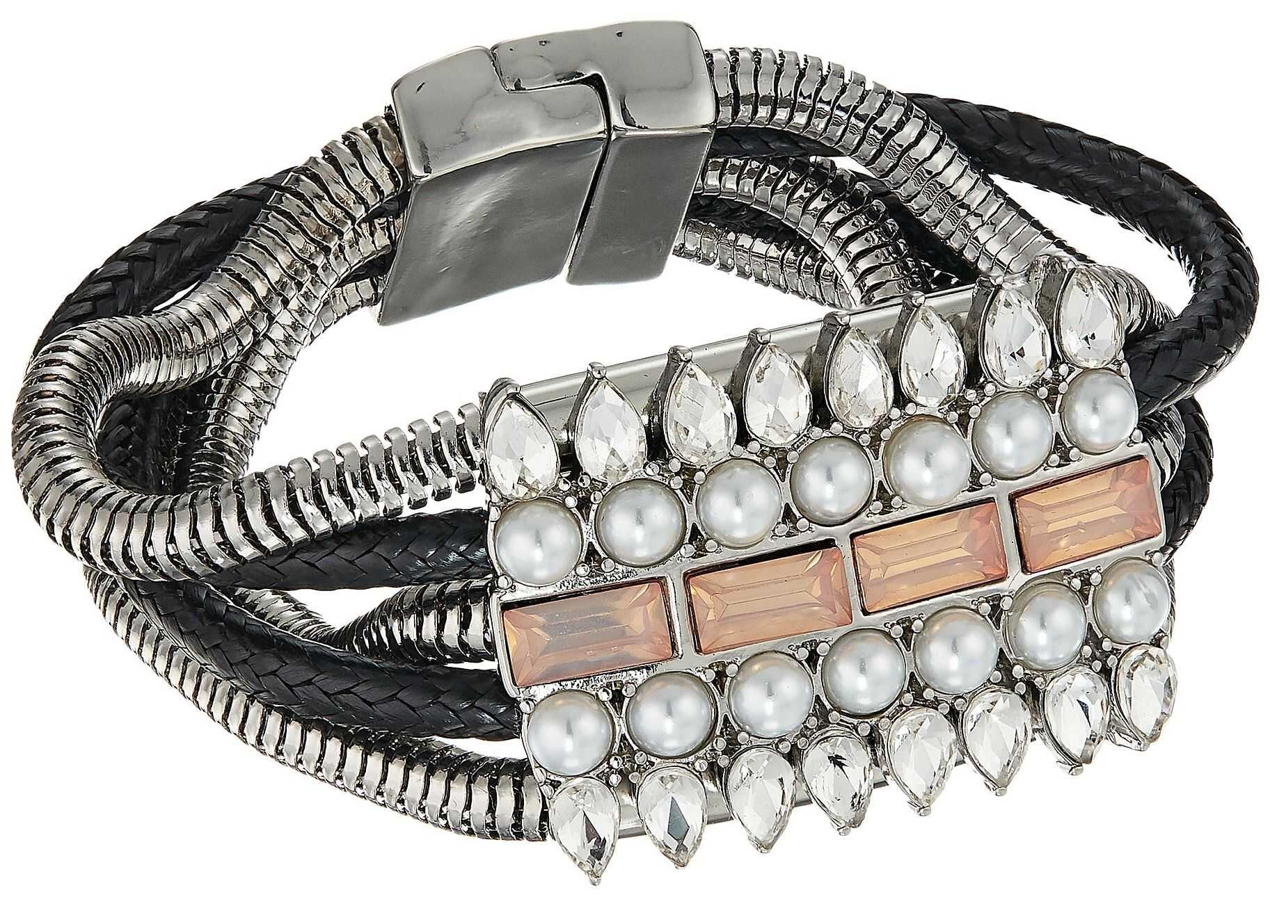 GUESS Wide Multi Snake Chain with Stone Accent & Magnetic Closure Brac Silver/Crystal/Black