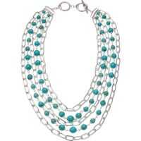 "Coliere Turquoise Multi Row Necklace 18"" Femei"